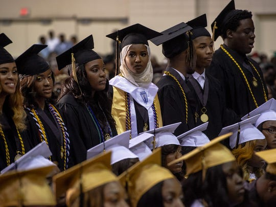 May 19, 2018 - Whitehaven High School students participate in the school's 2018 graduation ceremony at the Cook Convention Center.
