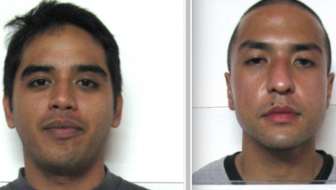 Vince Mikel Benito, left, and Lucas Briola Rebanal are shown in this combined image of their booking mugshots.