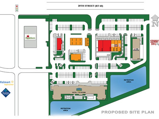 Site plan for the facility between Applebees and Sonny's BBQ on State Route 60. Plans include 109-room extended stay hotel, retail strip and free-standing restaurant.