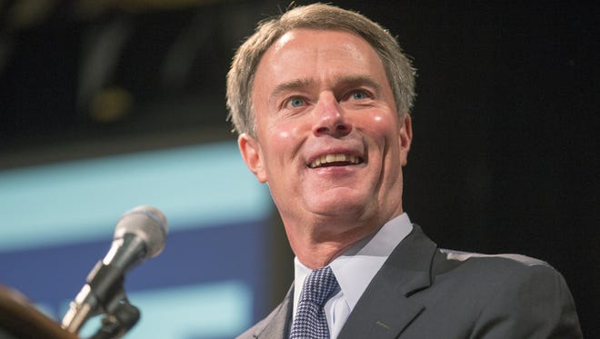 Joe Hogsett, is introduced as the new Indianapolis mayor at a Democratic rally in Union Station, Indianapolis, Tuesday, Nov. 3, 2015.