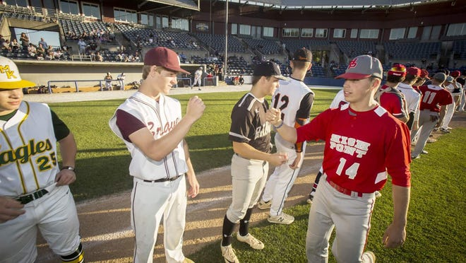 High Point's Nolan Rowan, right, joins Newton's Jack Young, second from left, and Wallkill Valley's Ben Mizeski, center, on the first baseline as they are announced at the start of the Northwest Jersey Athletic Conference Underclass All-Star Game on June 11, 2019, at Skylands Stadium in Frankford.