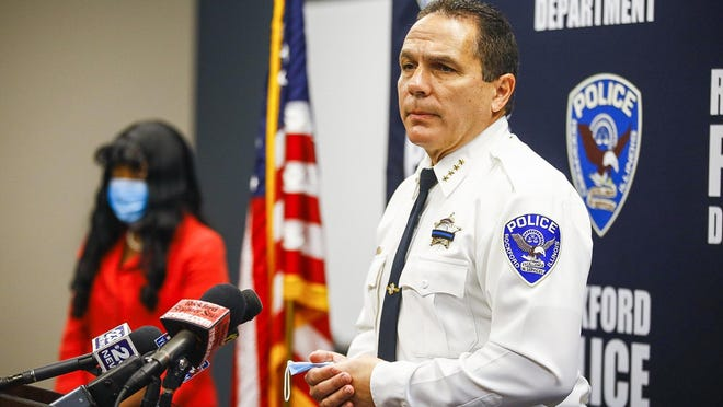 Rockford Police Chief Dan O'Shea and Winnebago County State's Attorney Marilyn Hite Ross speak to reporters Friday at police headquarters.
