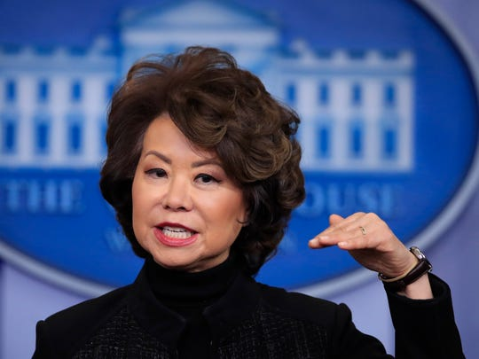Transportation Secretary Elaine Chao talks to reporters during the daily press briefing at the White House Tuesday.