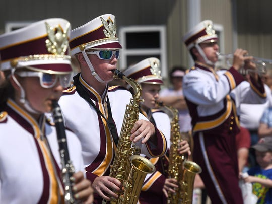 The Royalton High School Marching Band performed for the crowd during the Bowlus Fun Days parade.