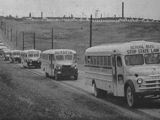 School buses, most driven by high school students, brought students to WMHS (Virginia's largest high school) from across the county.