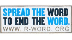 A lapel pin offered by www.r-word.org.