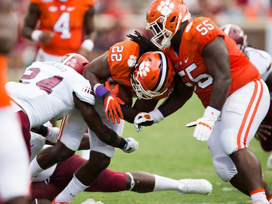 Clemson running back Tyshon Dye (22) carries the ball at the Clemson game against Troy on Saturday, September 10, 2016 in Clemson.