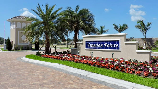 Venetian Pointe's main entry is off Gladiolus Drive, just east of Summerlin Road in South Fort Myers.