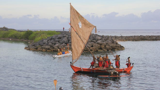 Canoes from Chuuk, Palau, Yap, and the Marshall Islands among others sailed in for the 12th Festival of Pacific Arts during a traditional welcoming ceremony at Paseo de Susana Park in Hagatna on May 22.