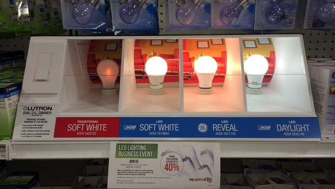 Marco Island's Sunshine Ace Hardware displays different types of LED bulbs. The store is hosting an LED transition event tomorrow night from 6:30 to 8:30 p.m.