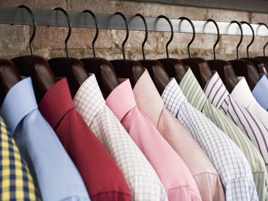 Row of shirts on hangers
