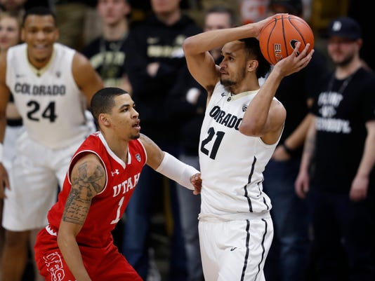 Colorado guard Derrick White, right, looks to pass the ball as Utah guard JoJo Zamora defends during the first half of an NCAA college basketball game Thursday, Feb. 23, 2017, in Boulder, Colo. (AP Photo/David Zalubowski)