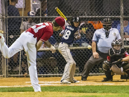 Holbrook relief pitcher Tai Mann (21) hurls one home