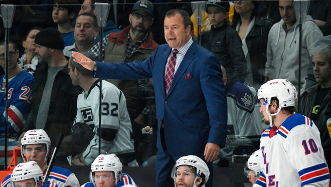 FILE - In this Jan. 21, 2018, file photo, New York Rangers coach Alain Vigneault gestures during the team's NHL hockey game against the Los Angeles Kings in Los Angeles. The Rangers have fired Vigneault after missing the playoffs in his fifth season. The team announced the move Saturday night, April 7, and will begin searching for his replacement immediately.