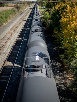 A view of tanker cars from the Center Street bridge that are parked on a Norfolk Southern railroad track that runs past Cleona Borough pictured on Wednesday, October 21, 2015.  Jeremy Long --Lebanon Daily News