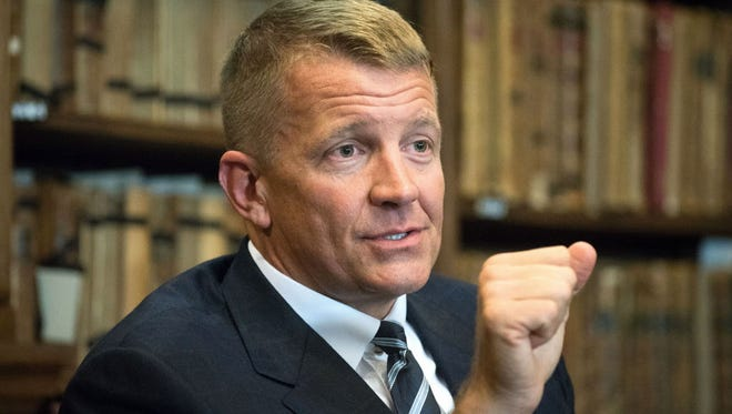 Erik Prince is a former Navy SEAL officer and founder of Blackwater USA. He is chairman of the Frontier Services Group, a logistics company focused on Africa and South Asia.