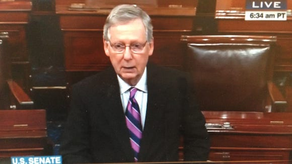 Sen. Mitch McConnell speaking on the Senate floor, Jan. 7, 2015.