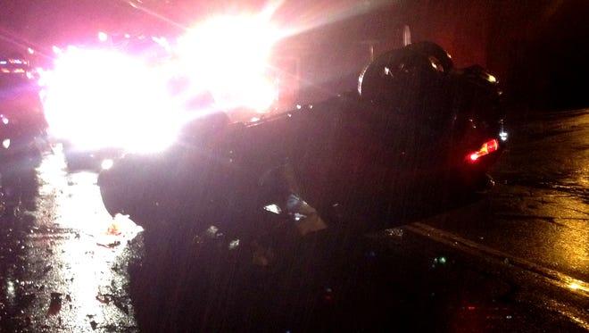 The Scene of a one-car crash in Thornwood Sunday.