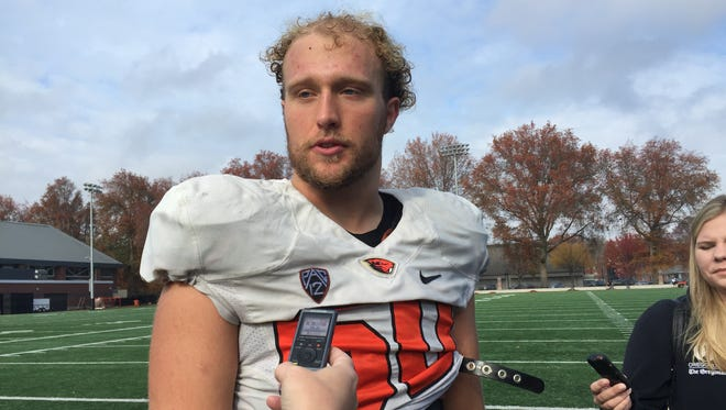 Oregon State left tackle Will Hopkins made his first career start last Saturday at Utah.