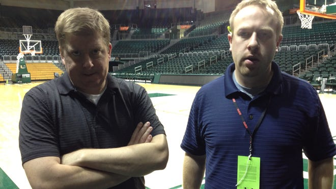 MSU beat writer is frustrated with the amount to time it's taking to shoot a Talkin' Spartans postgame video after MSU's loss at Miami in the ACC/Big Ten Challenge in 2012.