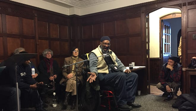 Baxter Jones, one of nine water activists, arrested in 2014, speaks about the resulting legal proceedings at a press conference at St. Peter's Episcopal Church on Jan. 10, 2017.