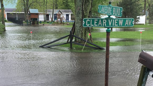 Flooding at the corner of Lakeside Boulevard and Clearview Avenue, near Bogus Point, in Parma on May 25, 2017.