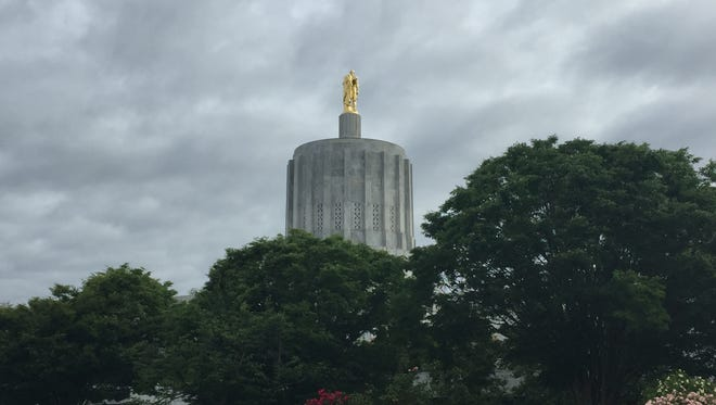 Oregon Capitol with leaden skies in June.