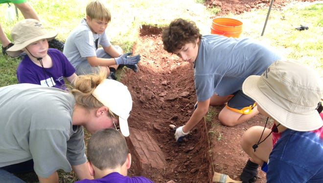 Eighteen children participating in a weeklong archaeology camp at Bedminster's historic Jacobus Vanderveer House uncovered evidence of an early barn foundation and other outbuildings on the property.