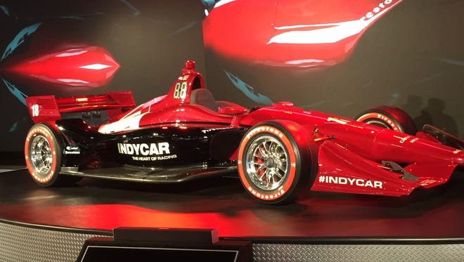 The 2018 Indy car was officially unveiled to the public on Tuesday at the Detroit Auto Show.