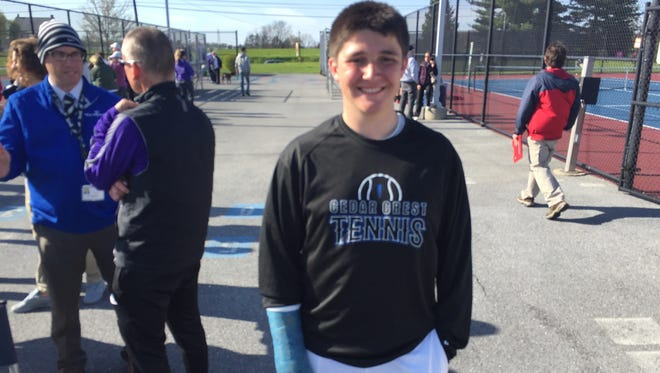 Cedar Crest sophomore tennis player Dylan Tull has tried to stay upbeat despite suffering a season-ending broken wrist midway through the season that cost him some championship goals.