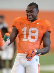 Clemson defensive back Jadar Johnson (18) during practice