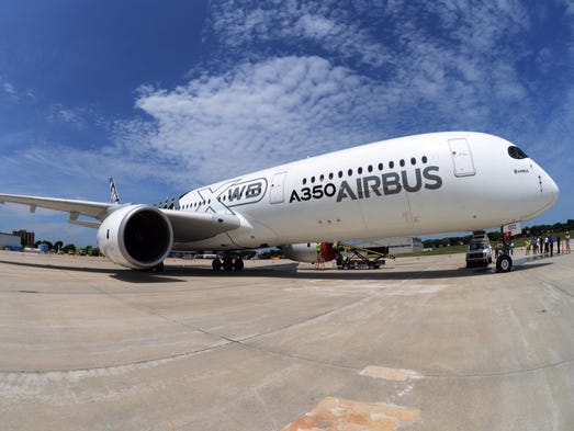 Airbus' newest aircraft -- the A350 XWB -- passed through