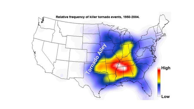 where is tornado alley located