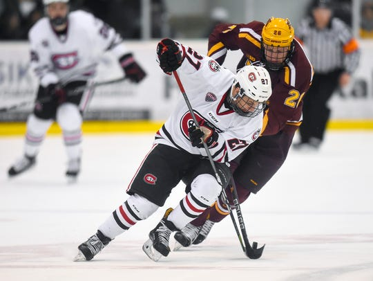 St. Cloud State's Blake Lizotte and University of Minnesota's