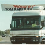 An RV turns into the lot north of the Wayne County Fairgrounds on Sept. 9, 1999, for the Tom Raper Rally.