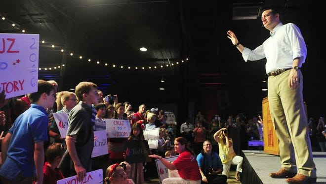 Republican presidential candidate and U.S. Sen. Ted Cruz speaks to a group of about 1,600 at the Factory at Franklin on Aug. 10, 2015.