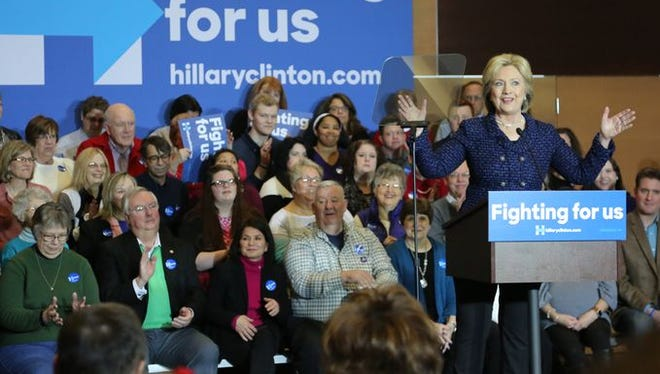 Presidential candidate Hillary Clinton speaks during a campaign stop at Simpson College on Jan. 21.