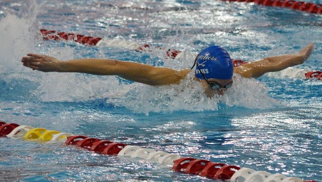 Chillicothe's Zach Ayres competes at the district swim meet at Ohio State University on Feb. 19.
