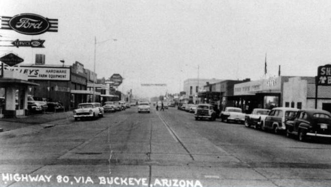 """A view of downtown Buckeye from the """"Old Highway 80"""" in the 1950s, also known as Interstate 80 or U.S. Route 80."""