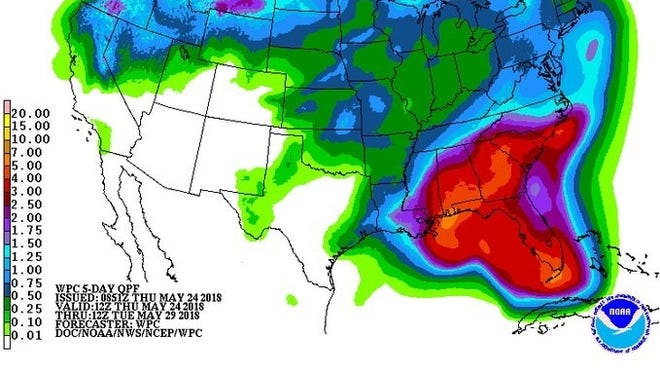 Current forecasts suggest a tropical system could bring more than 6 inches of rain to the coast.