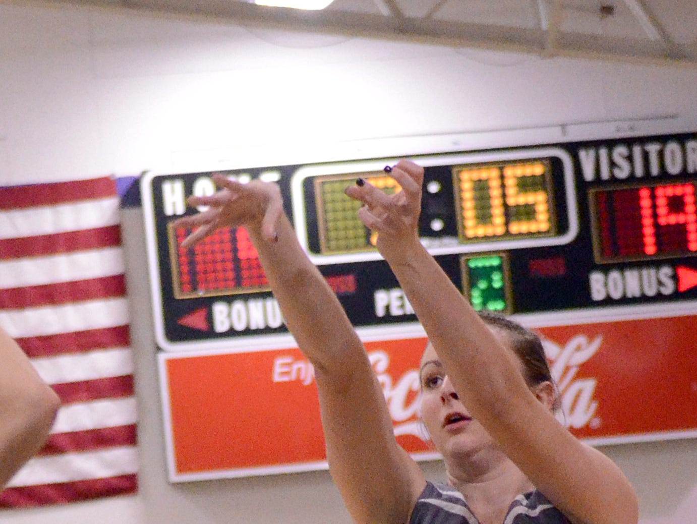 Westmoreland High senior guard Haley Braswell releases a second-quarter 3-pointer.