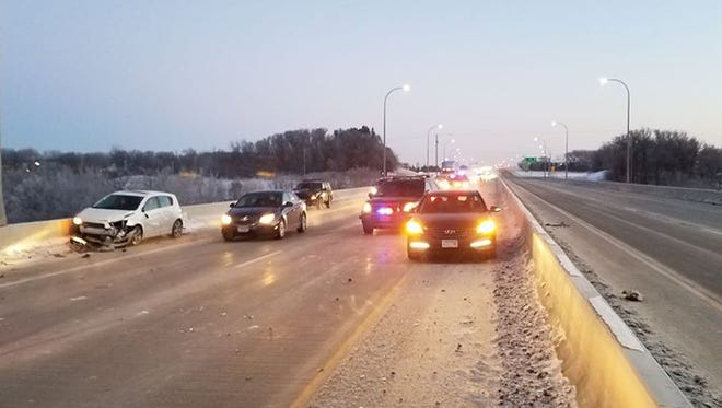 Collisions closed a lane of traffic Friday morning on Bridge of Hope.