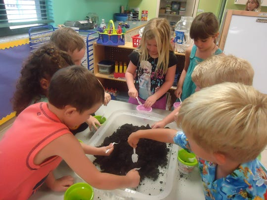 Preschool children try planting.