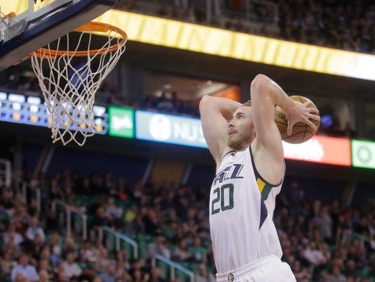 FILE - In this March 3, 2017, file photo, Utah Jazz forward Gordon Hayward goes up for a dunk against the Brooklyn Nets during NBA basketball game in Salt Lake City. A person with knowledge of the decision says Hayward has declined the player-option final year on his contract as expected and will now test the market as an unrestricted free agent. (AP Photo/Rick Bowmer, File)