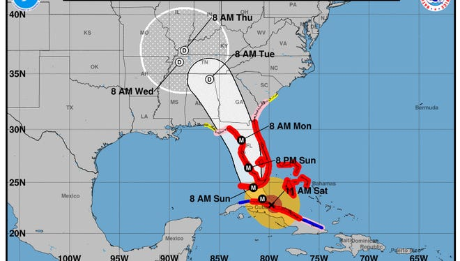 The National Hurricane Center released this forecast at 11 a.m. on Saturday, Sept. 9, 2017 to show the latest prediction for Hurricane Irma.