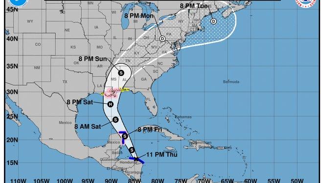 11 p.m. advisory for Tropical Storm Nate.