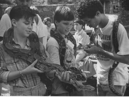 Johnathon Gott, left, Jon Lauterer and Jack Holland hold a boa constrictor and pythons at the WNC Nature Center's Hey Day in 1988.