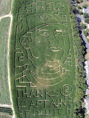 Odd Derek Jeter Corn Maze Baseball