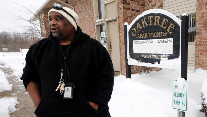 Curtis Jackson, site manager of the Oaktree Apartments near 42nd Street and Post Road in Indianapolis, said on Feb. 5, 2014, that residents weren't happy about the Marion County Health Department's decision to pursue an eviction order, because of a lack of running water and other problems.