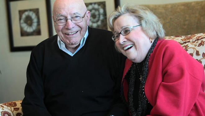Bob Stroup and Juli Hall share a laugh at The Barrington of Carmel, Thursday, February 6, 2014.  Stroup and Hall, formerly Juliann Foster, were friends in high school.  They reconnected years later and after other marriages, to marry each other 9 years ago.